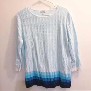 Talbots ombré sweater top 3/4 sleeve in blue
